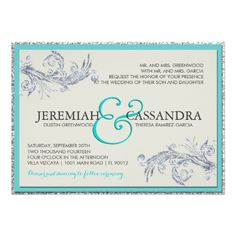 Silver and Teal Wedding Invitation