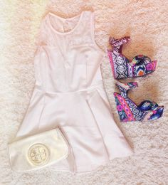 Outfit #1  Romper- Lotus boutique  Clutch- Tory Burch  Wedges- Steve Madden