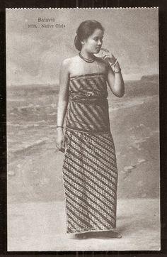 Batavia Girl on Batik Costume ~ Batavia ~ Jakarta Indonesia ca 1910