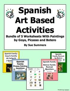 Spanish Art Based Activities Bundle - 5 Worksheets by Sue Summers - Activities based on works by Botero, Picasso and Goya.