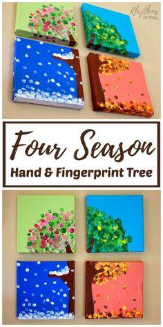 Four Seasons Handprint and Fingerprint Tree Art - kindergarten! - This four season hand and fingerprint tree is a DIY keepsake craft and gift that kids can make. Crafts To Do, Easy Crafts, Hand Crafts For Kids, Craft Projects For Kids, Diy Arts And Crafts, Creative Crafts, Keepsake Crafts, Diy Y Manualidades, Fingerprint Tree
