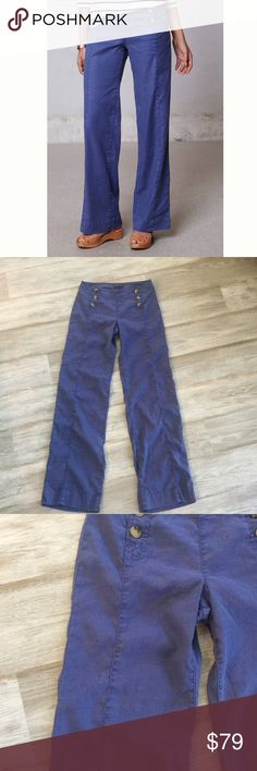 Anthropologie Level 99 Sailor Pants Super cool Anthropologie Level 99 Blue Wide Leg Sailor Pants.  Linen blend. 31 in inseam. Very small snag show in pic 3.  Otherwise, absolutely perfect!  Could be shortened if they are too long for you. Anthropologie Pants