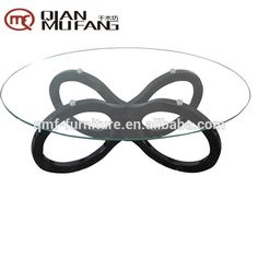 leaf shaped design red glass coffee table