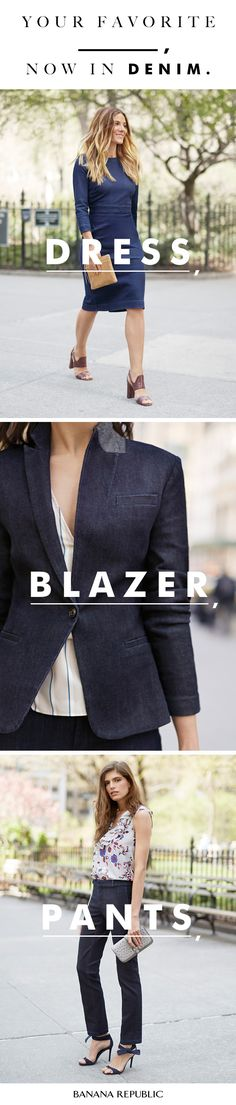 Denim isn't just for jeans anymore. Our new jackets, pants, dresses and blazers now come in denim. Think sophisticated tailoring and surprising silhouettes—they're brilliantly versatile and forever classic.