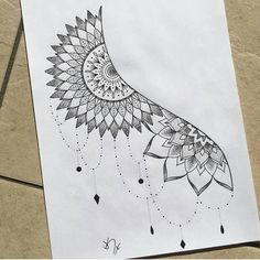 Delicate and beautiful 30 simple mandala tattoo design ideas for women – Page 23 Doodle Art Drawing, Zentangle Drawings, Cool Art Drawings, Mandala Drawing, Pencil Art Drawings, Art Drawings Sketches, Zentangle Patterns, Tattoo Drawings, Half Mandala Tattoo