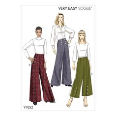 Vogue Patterns 9282 MISSES' HIGH-WAISTED PANTS WITH BUTTON DETAIL sewing pattern