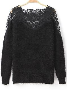 Black Contrast Lace Long Sleeve Mohair Sweater 23.33
