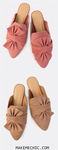 Faux Suede Bow Slip On Flats