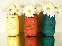 Back to School - Home, Dorm or Office Decor, Teacher Gift - Mason Jars - Primary Colors - Pencil Holder. $15.00, via Etsy.