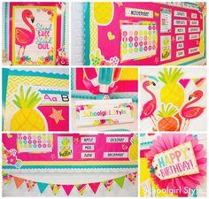 Pina Colada Pineapple classroom theme flamingo popsicles, Lilly Pulitzer inspired, tropical, luau, beach, classroom decor