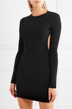 Esteban Cortazar - Peace Sign Cutout Jersey Mini Dress - Black -