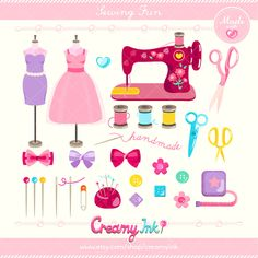 Sewing Fun Time Digital Vector Clip art / Clipart Design Illustration / Handmade, Crafting, Crafts, Thread, Button, Tailor, Dressmaking / by CreamyInk on Etsy https://www.etsy.com/uk/listing/291839695/sewing-fun-time-digital-vector-clip-art