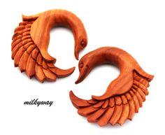 SWAN-SABA-WOOD-WING-EAR-GAUGE-ORGANIC-PLUG-tribal-angel