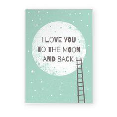 I love you to the moon and back    plakat A3 w Milo Studio na DaWanda.com