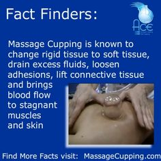 Fact Finders Monday: Massage Cupping is known to change rigid tissue to soft tissue, drain excess fluids, loosen adhesions, lift connective tissue and brings blood flow to stagnant muscles and skin. Massage For Men, Massage Tips, Massage Benefits, Good Massage, Massage Techniques, Hijama Cupping, Cupping Therapy, Massage Therapy, Spa
