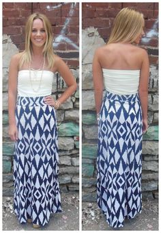 $30 Navy and white maxi skirt: Apricot Lane Boutique