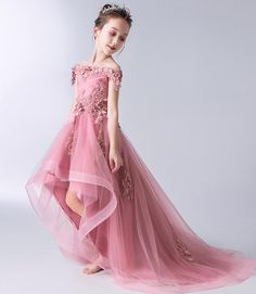 Buy Gorgeous Pink Off the Shoulder With Lace Appliques High Low Tulle Flower Girl Dresses in uk. Find the perfect flower girl dresses at jolilis. Our flower girl dresses come in a variety of styles & colors including lace, tulle, purple & gold Tulle Flower Girl, Cheap Flower Girl Dresses, Tulle Flowers, Little Girl Dresses, Girls Dresses, Prom Dresses, Wedding Dresses, Dresses For Kids, Trendy Dresses