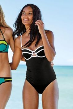 Feel fab on the beach this summer in our monochrome colour block swimsuit, the perfect way to wear black and white on the beach!