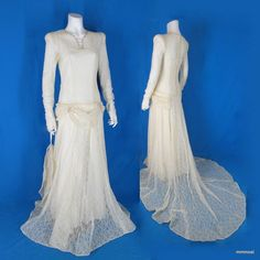 Vintage 1940s Lace Trained Wedding Dress Chemise Slip Tiara Headpiece Veil XS  http://stores.ebay.com/mmmosts-Old-time-Stuff-and-Threads