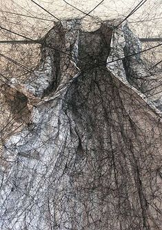 Chiharu Shiota - A detail from the London installation of ''After the Dream'' (2009) modern art abstract textile installation
