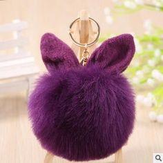 2016 Pompon Fluffy porte clef pompom de Fourrure women femme Pom Pom Keychain Rabbit Ear Fur Ball Key Chain Rings llavero Bag