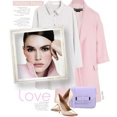 take it, take another little piece of my heart now baby by mcheffer on Polyvore featuring мода, MANGO, Rochas, Charles David, Pieces, soft, shirtdress, pastels, fashiontrend and PinkWhite