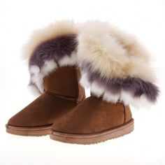 Women's Autumn Winter Ankle Warm Synthetic Fur Snow Boots - Oh Yours Fashion - 3
