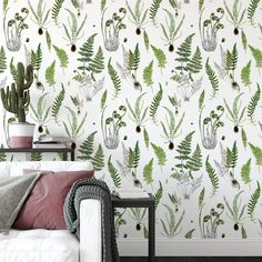 """Ferns in White - 27"""" wide by 120"""" high"""