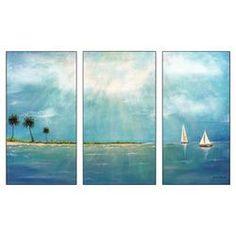 Azure Breeze Triptych 3 Panel Cavas Art