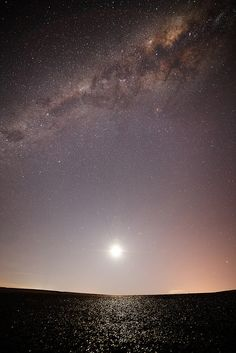 Moonset and the Milky Way by lrargerich, via Flickr