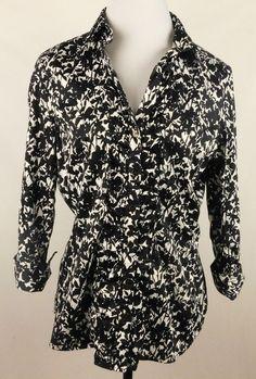 New York & Co Blouse  Large Stretch   Black/White  (#300) #NewYorkCompany #Blouse #Casual
