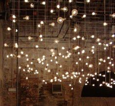 floor lighting magical bulbs // light installation by American artist Spencer Finch // via Apartment Therapy Hanging Lights, Fairy Lights, String Lights, Bulb Lights, Twinkle Lights, Twinkle Twinkle, Festoon Lights, Floating Lights, Ceiling Lights