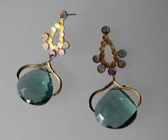 Gorgeous Green Tourmaline Patina Drops by Seth Carlson 1230 shopSCAD 18 Karat gold and silver with patina earrings with green tourmaline drops  Hand-forged and fabricated  Approx 40 x 25 mm