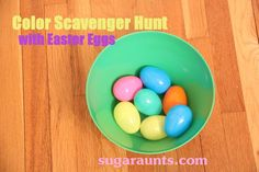 Color Scavenger Hunt: slips of paper with colors written inside each egg. The kids pick an egg, read the color, and run off to hunt for a little object of that color that will FIT inside the egg. Fun and easy! #Easter #kids #learningcolors