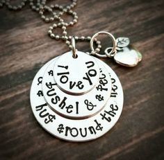 Hand Stamped 'I love you a bushel and a peck and a hug around the neck' necklace with apple charm