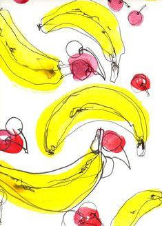 Bananas and cherries pattern