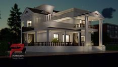 Panash Design Studio - Take a look of our best design list of Commercial Elevation Projects. Indian Home Design, Kerala House Design, Rustic Home Design, Bungalow Interiors, Modern Bungalow, Minimalist House Design, Modern House Design, House Elevation, Building Elevation