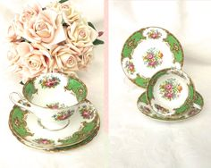 Vintage Shelley tea cup, saucer, plate, trio, Duchess pattern, elaborate floral pattern, green trim with gilt, footed cup, circa 1950s by CardCurios on Etsy