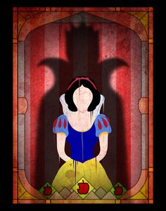 Shadow Collection, Series 1 - Apple Art Print by Joe Alexander - Snow White and the Seven Dwarfs
