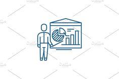 Report Design, Line Icon, Outline, Accounting, Symbols, Concept, Creative, Illustration, Illustrations