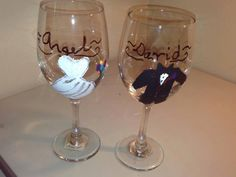 Hand Painted and Personalized Wedding Bride and Groom,Bride and Bride,Groom and… Wedding Couples, Wedding Bride, Bride Groom, Wedding Gifts, Wedding Color Schemes, Wedding Colors, Wedding Gift Baskets, Personalised Glasses