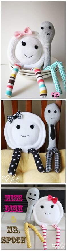 ~What a lovely Idea ~ Free Pattern & Instruction ~ Ms.Dish & Mr.Spoon by Jessica Fediw ~