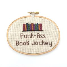 "For the librarian or book lover in your life. ""Punk Ass Book Jockey"" Parks & Recreation Cross Stitch by BananyaStand on Etsy"