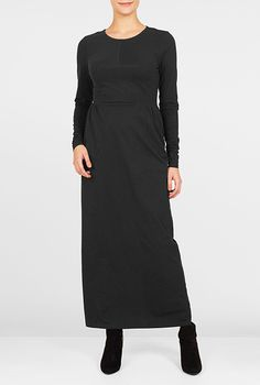 I <3 this Jewel neck cotton knit maxi  dress from eShakti