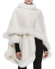 Fox Fur-Trimmed Cashmere U-Cape, White by Sofia Cashmere at Bergdorf Goodman.