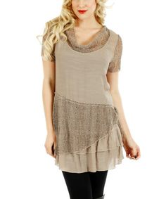 Another great find on #zulily! Brown Sheer-Panel Cowl Neck Tunic #zulilyfinds