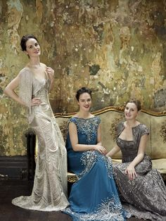 The Downton Abbey sisters in gorgeous evening dresses.
