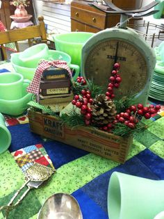 I love a wooden cheese box ...but a cheese box dressed up for Christmas surrounded by Jadeite ... doesn't get much better.