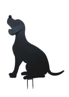 Hund sitzend XL 68 cm hohe Silhouette Schmiedeeisen Schwarz lackiert