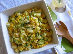 Summer Gnocchi salad with corn, zucchini, garlic, parmesan, and basil.  YUM.